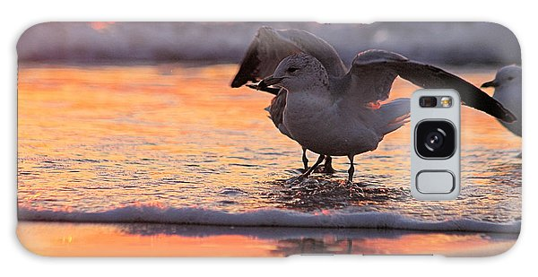 Seagull Stretch At Sunrise Galaxy Case