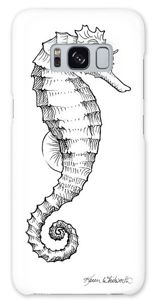 Seahorse Black And White Sketch Galaxy Case