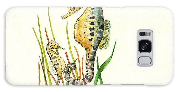 Seahorse Mom And Baby Galaxy Case by Juan Bosco