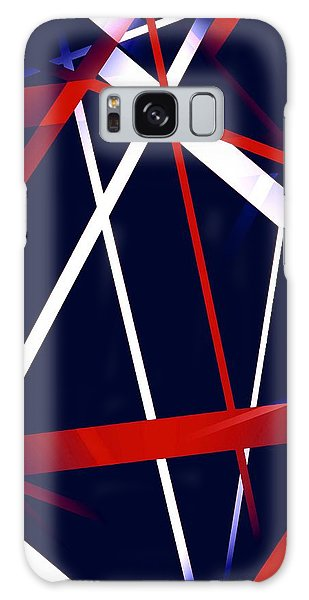 Seamless Red And White Stripes On A Blue Background Galaxy Case