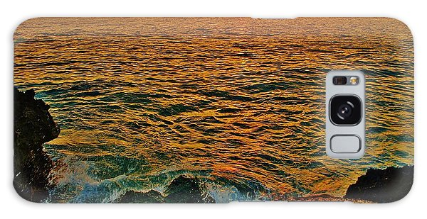 Seascape In Orange And Green Galaxy Case by Craig Wood