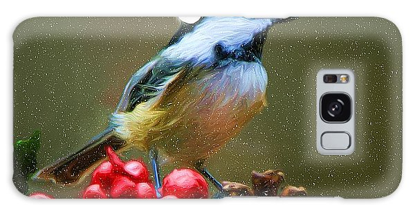 Seasons Greetings Chickadee Galaxy Case