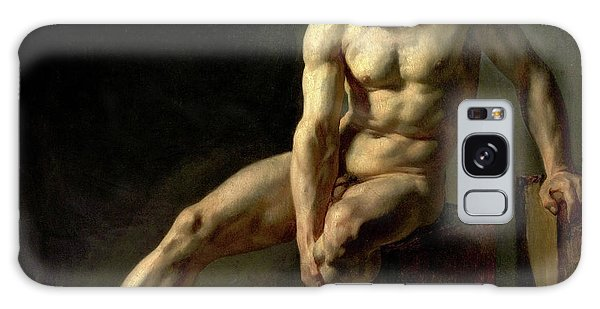 Sitting Nude Galaxy Case - Seated Male Nude by Jean-Baptiste Edouard Detaille