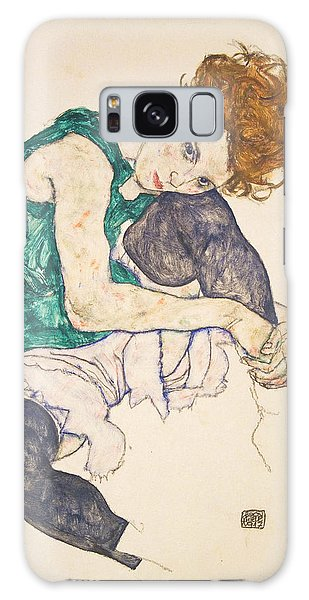 Seated Woman With Legs Drawn Up Galaxy Case