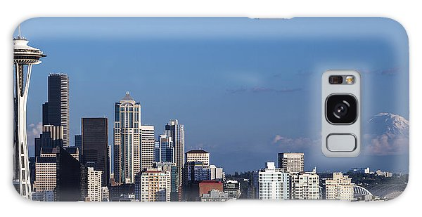 Seattle And Mt Rainier Galaxy Case by Ed Clark