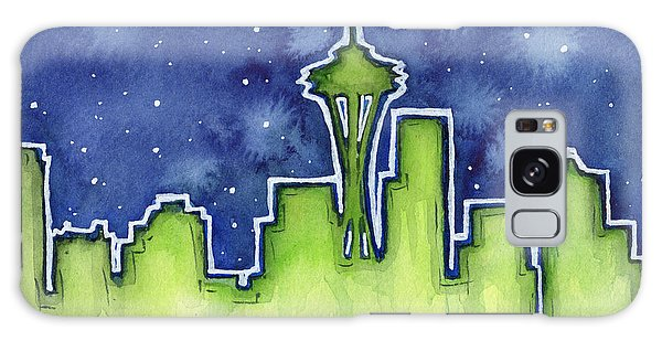 Seattle Skyline Galaxy S8 Case - Seattle Night Sky Watercolor by Olga Shvartsur