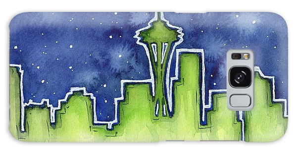 Seattle Night Sky Watercolor Galaxy Case by Olga Shvartsur