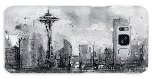 Seattle Skyline Painting Watercolor  Galaxy Case by Olga Shvartsur
