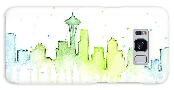Seattle Skyline Watercolor  Galaxy Case by Olga Shvartsur