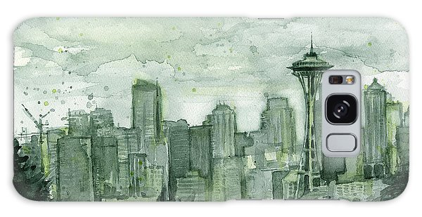 City Scenes Galaxy S8 Case - Seattle Skyline Watercolor Space Needle by Olga Shvartsur