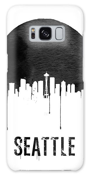 Seattle Skyline White Galaxy Case by Naxart Studio