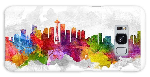 Seattle Washington Cityscape 13 Galaxy Case by Aged Pixel