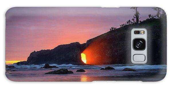 Galaxy Case featuring the photograph Second Beach Light Shaft by Dan Mihai