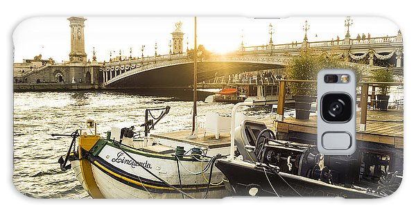Seine River With Barges And Boats, Pont De Alexandre Bridge Behind, Paris France. Galaxy Case by Perry Van Munster