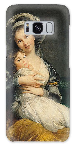 Turban Galaxy Case - Self Portrait In A Turban With Her Child by Elisabeth Louise Vigee Lebrun