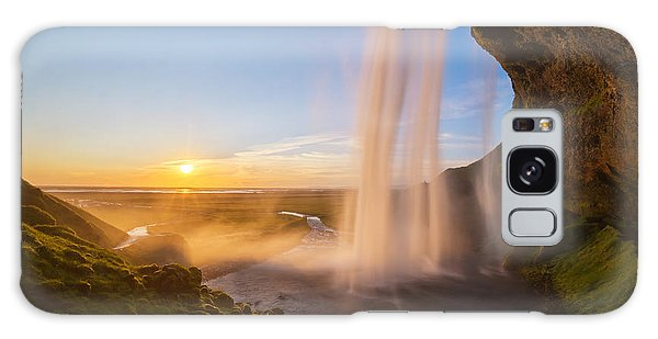Seljalandsfoss Sunset Iceland Galaxy Case