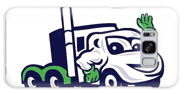 Semis Galaxy Case - Semi Truck Rig Waving Cartoon by Aloysius Patrimonio