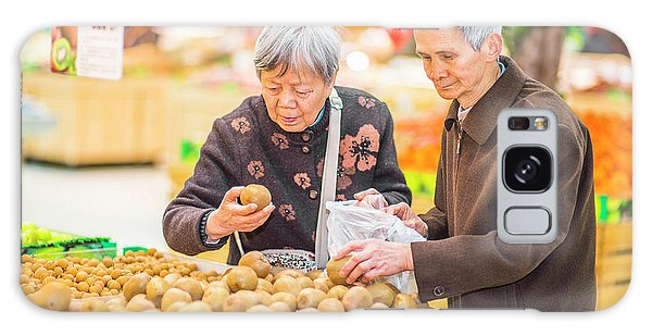 Senior Man And Woman Shopping Fruit Galaxy Case