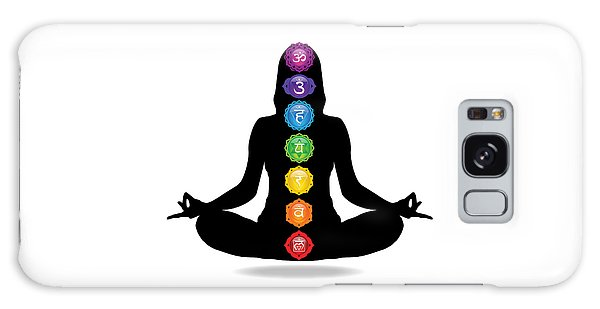 Seven Chakra Illustration With Woman Silhouette Galaxy Case by Serena King