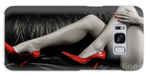 Sexy Woman Legs In Red High Heels Galaxy Case