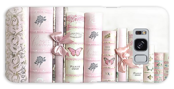 Cottage Galaxy Case - Shabby Chic Pink Books Collection - Paris Pink Books Art Prints Home Decor by Kathy Fornal