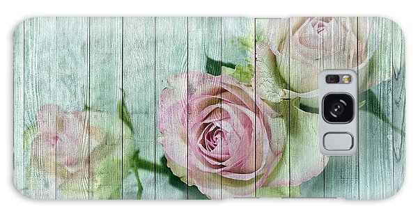Shabby Chic Pink Roses On Blue Wood Galaxy Case