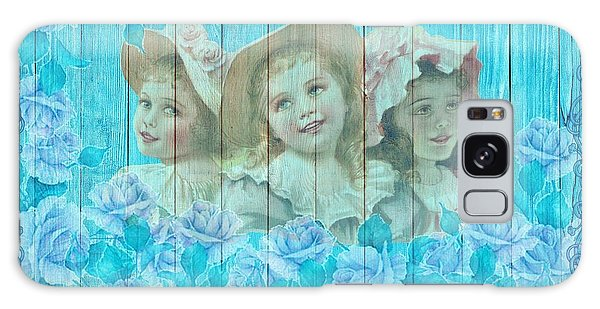 Shabby Chic Vintage Little Girls And Roses On Wood Galaxy Case