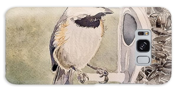 Shades Of Black Capped Chickadee Galaxy Case