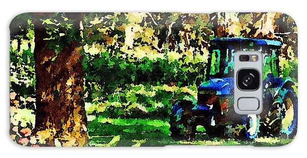 Galaxy Case featuring the painting Shady Tractor by Angela Treat Lyon
