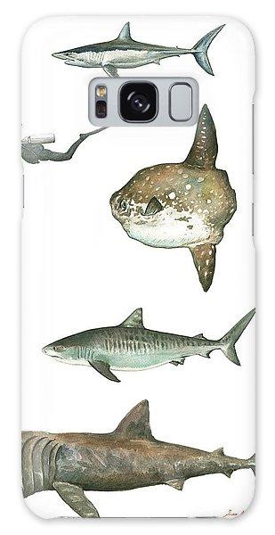 Scuba Diving Galaxy Case - Sharks And Mola Mola by Juan Bosco