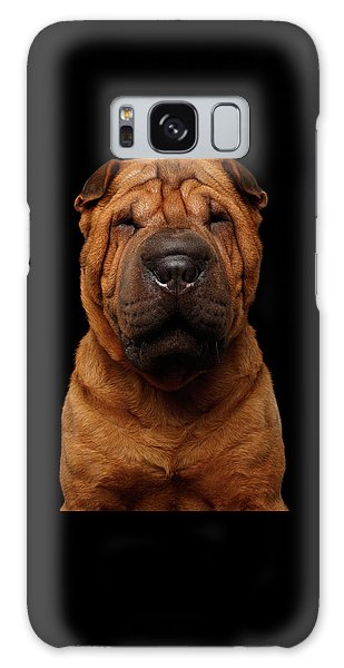 Sharpei Dog Isolated On Black Background Galaxy Case