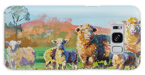 Sheep And Lambs In Devon Landscape Bright Colors Galaxy Case