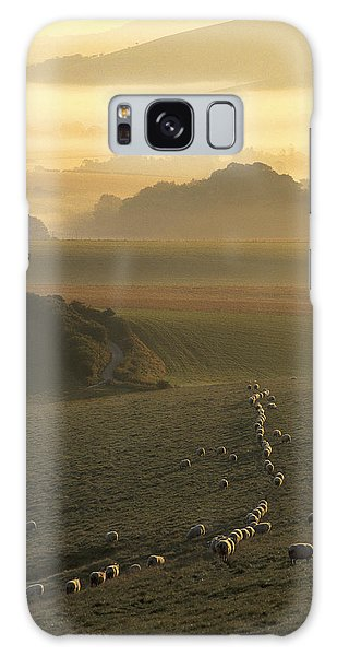 Sheep And Misty South Downs Galaxy Case