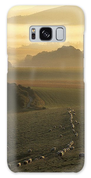 Sheep And Misty South Downs Galaxy Case by Hazy Apple