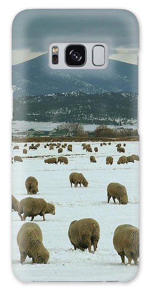Sheep On Winter Field Galaxy Case