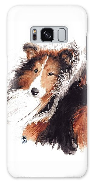 Watercolor Pet Portraits Galaxy Case - Sheltie by Debra Jones