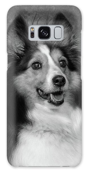 Sheltie In Black And White Galaxy Case