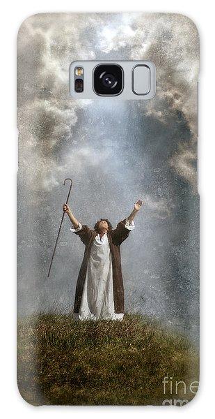 Shepherd Arms Up In Praise Galaxy Case by Jill Battaglia