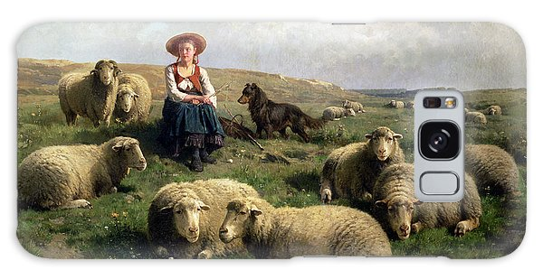 Sheep Galaxy Case - Shepherdess With Sheep In A Landscape by C Leemputten and T Gerard