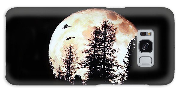 Silhouettes Om Full Moon Galaxy Case by Linda Phelps