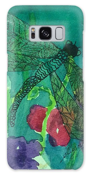 Shimmering Dragonfly W Sweetpeas Square Crop Galaxy Case