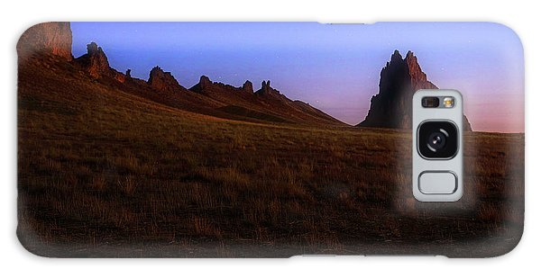 Galaxy Case featuring the photograph Shiprock Under The Stars - Sunrise - New Mexico - Landscape by Jason Politte