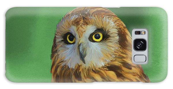 Short Eared Owl On Green Galaxy Case by Dan Sproul