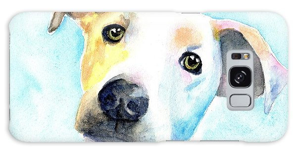 Watercolor Pet Portraits Galaxy Case - Short Hair White And Brown Dog by Carlin Blahnik CarlinArtWatercolor