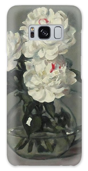 Showy White Peonies In Glass Pitcher Galaxy Case
