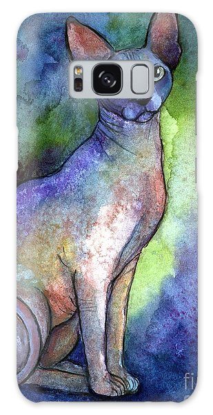 Watercolor Pet Portraits Galaxy Case - Shynx Cat 2 Painting by Svetlana Novikova