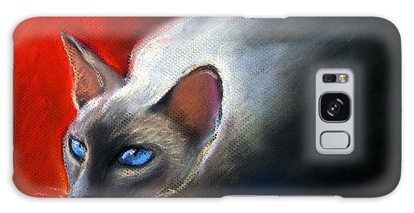 Watercolor Pet Portraits Galaxy Case - Siamese Cat 7 Painting by Svetlana Novikova
