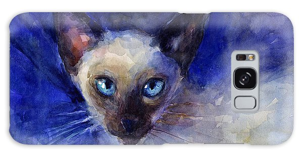 Watercolor Pet Portraits Galaxy Case - Siamese Cat  by Svetlana Novikova