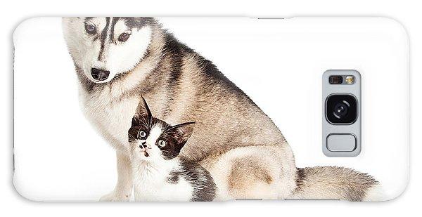 Siberian Husky Dog Sitting With Little Kitten Galaxy Case