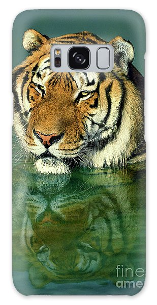Siberian Tiger Reflection Wildlife Rescue Galaxy Case by Dave Welling